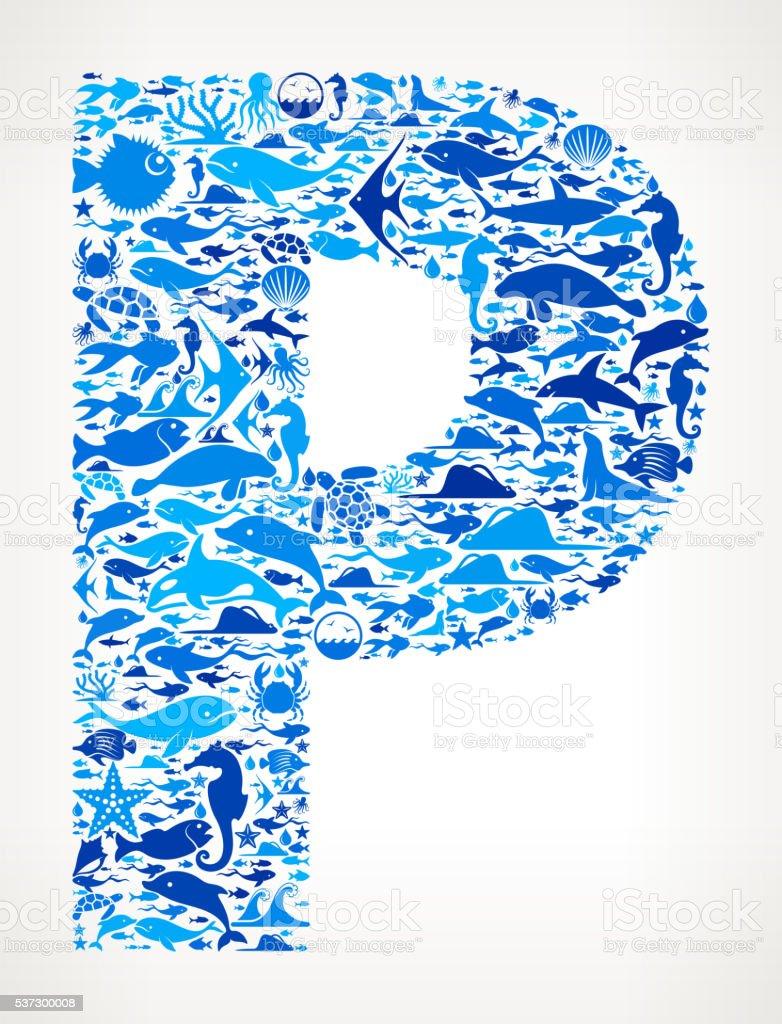 Letter p Ocean Marine Life Blue Icon Pattern vector art illustration