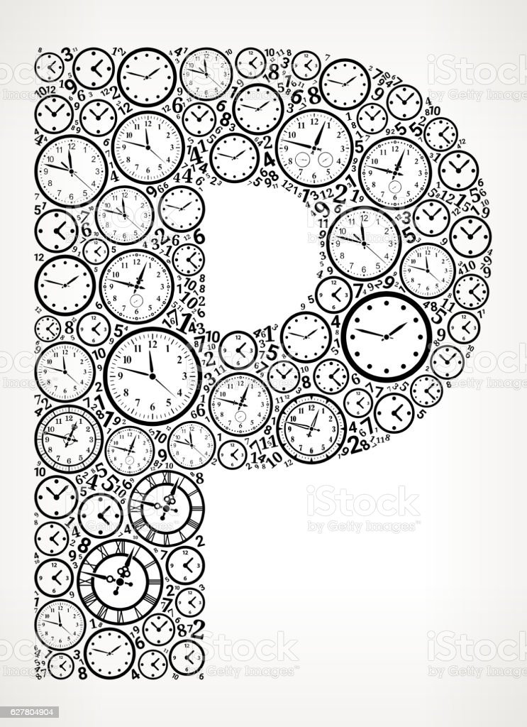 Letter P on Time and Clock Vector Icon Pattern vector art illustration
