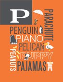 Letter P poster. Illustrations and words that start with P.