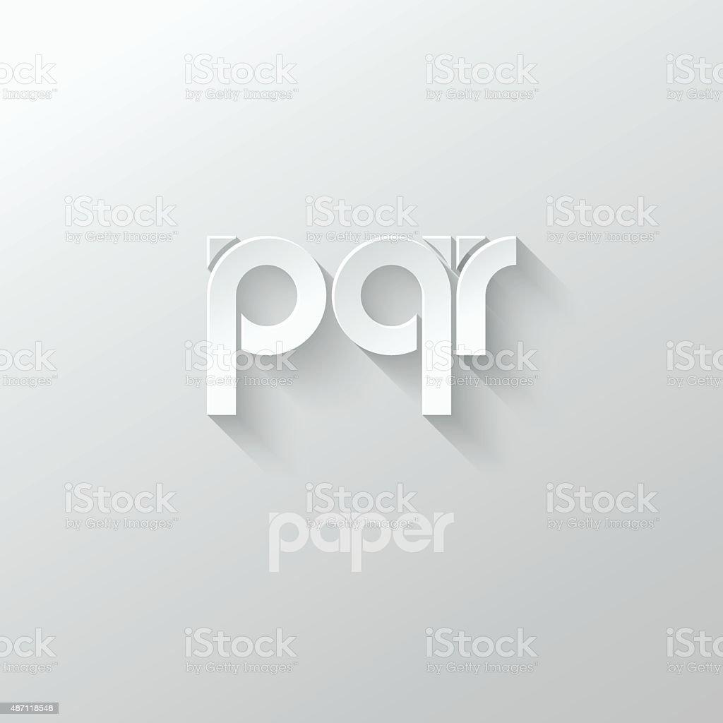 letter P Q R logo alphabet icon paper set background vector art illustration