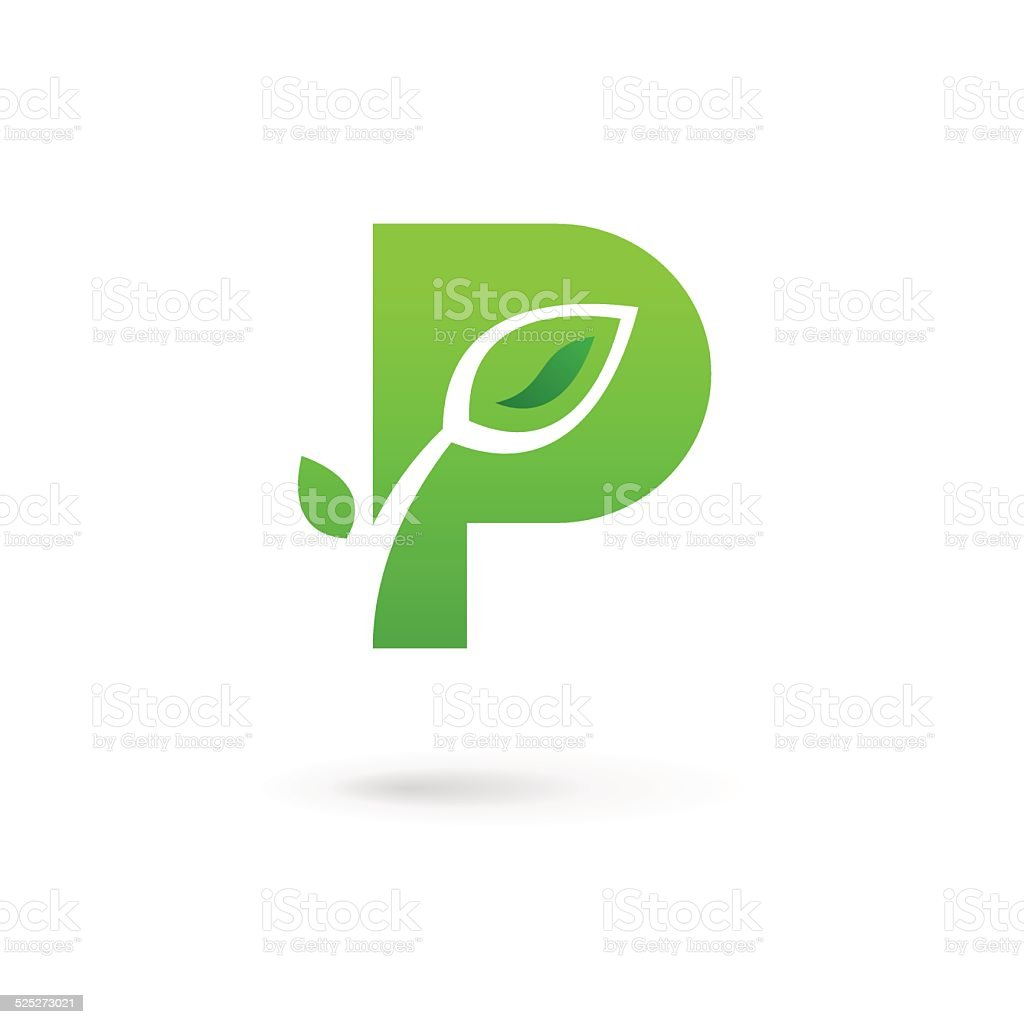 Letter P with eco leaves icon vector art illustration