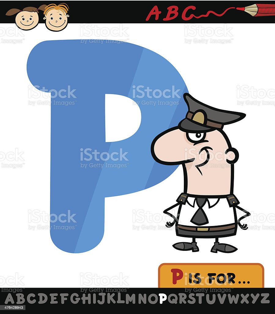 letter p with policeman cartoon illustration royalty-free stock vector art