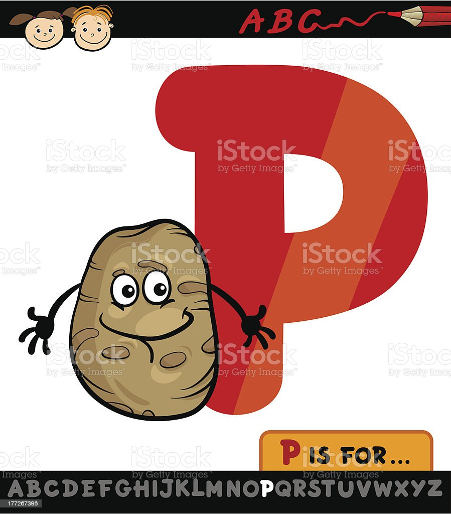 letter p with potato cartoon illustration royalty-free stock vector art