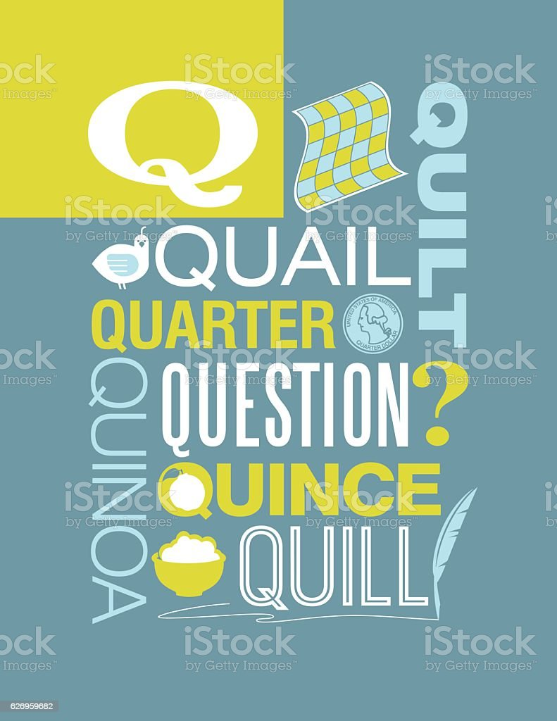 Letter Q poster. Illustrations and words that start with Q. vector art illustration
