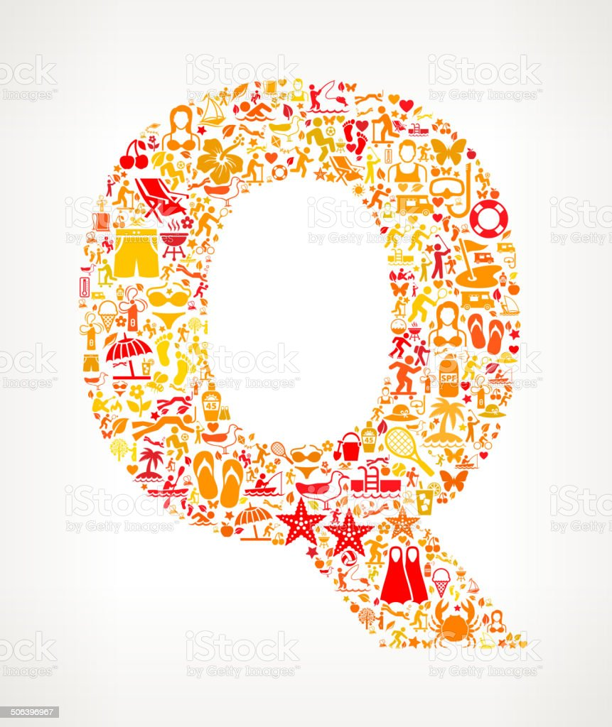 Letter Q Summer and Vacation royalty free vector art Pattern royalty-free stock vector art