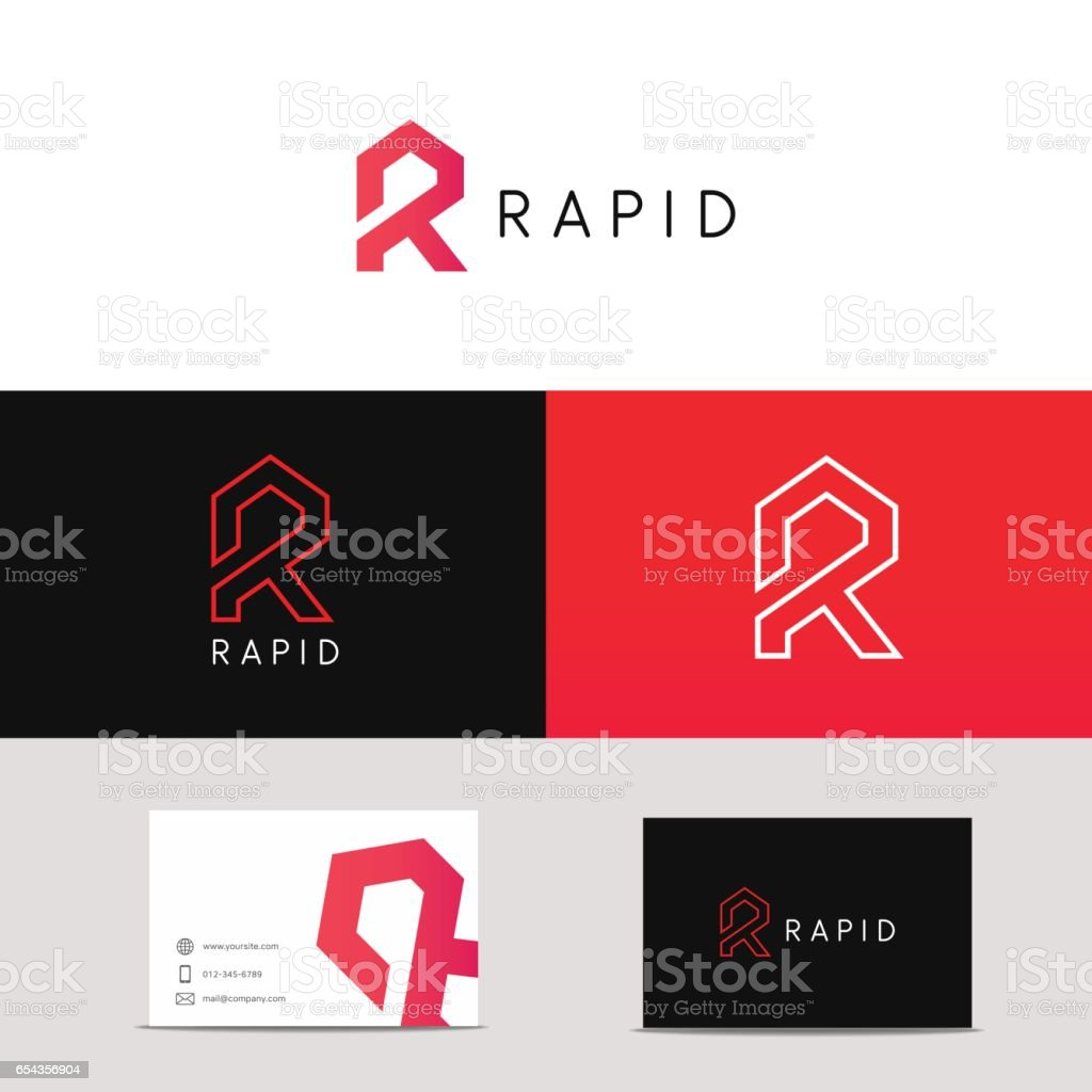 Letter R icon sign with branding business card. vector art illustration