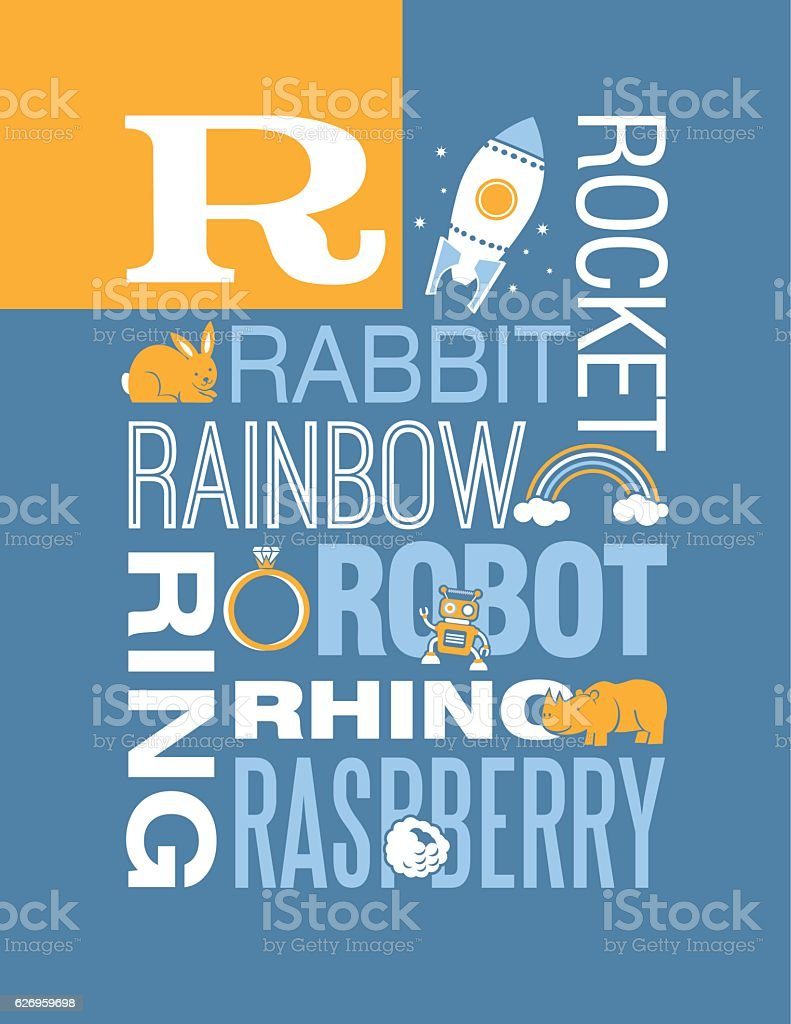 Letter R poster. Illustrations and words that start with R. vector art illustration