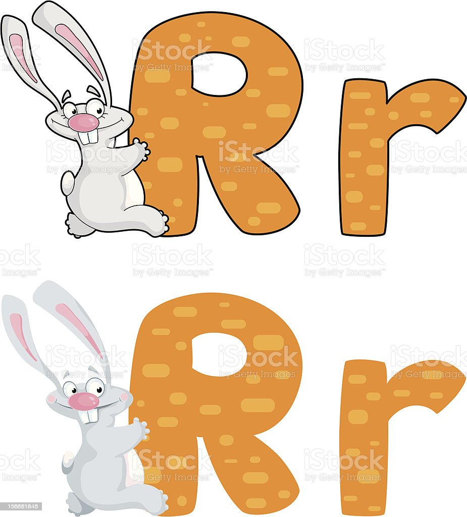 letter R rabbit royalty-free stock vector art