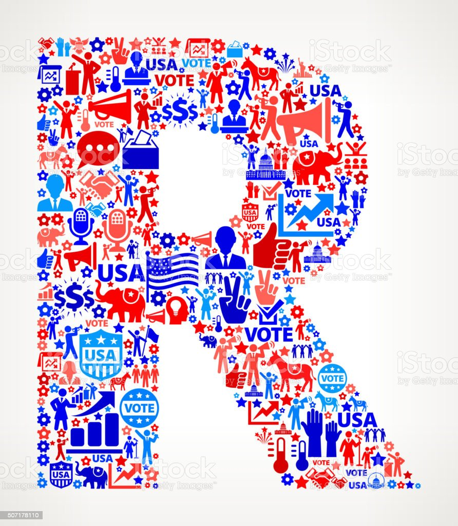 Letter r Vote and Elections USA Patriotic Icon Pattern vector art illustration