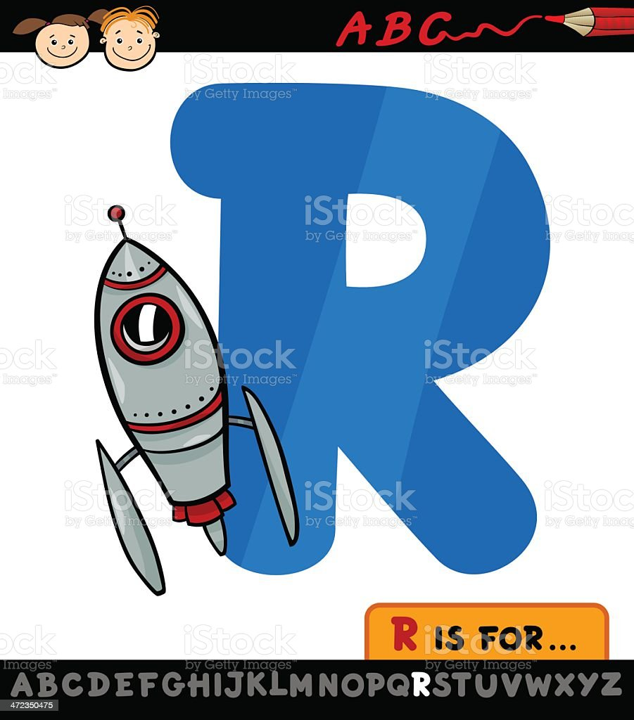 letter r with rocket cartoon illustration royalty-free stock vector art