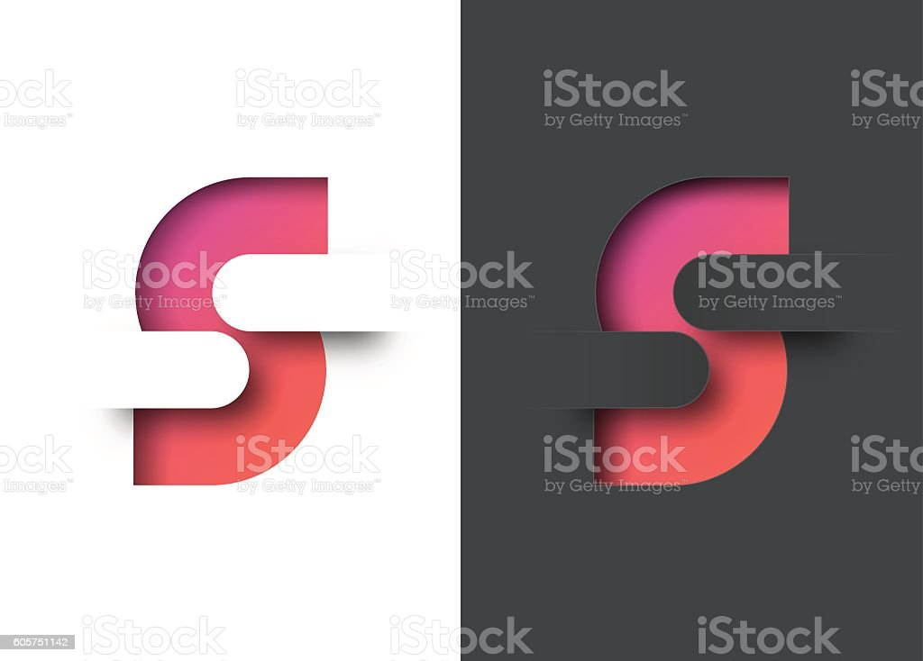 Letter S abstract symbol vector art illustration