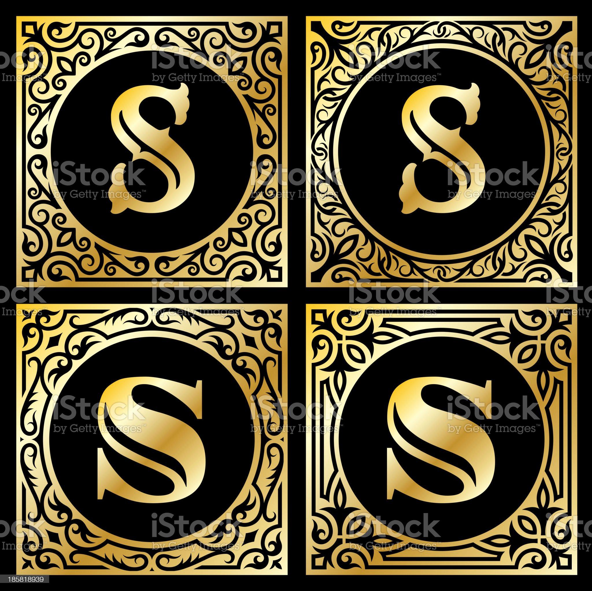 Letter S in Golden Frame royalty-free stock vector art