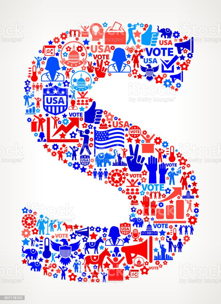 Letter s Vote and Elections USA Patriotic Icon Pattern vector art illustration