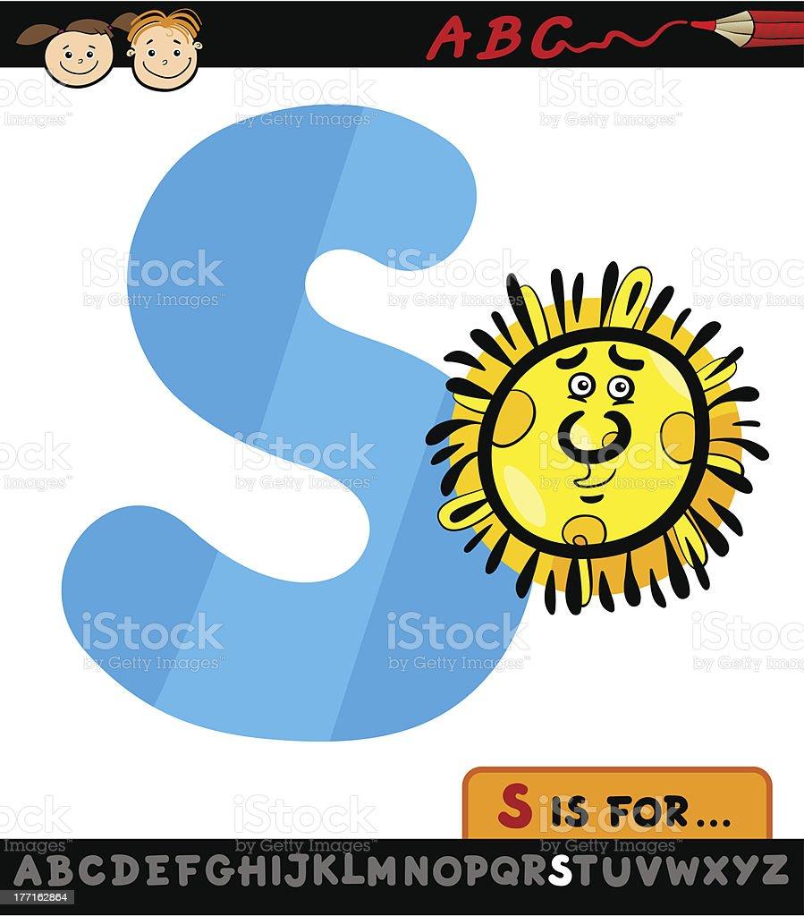 letter s with sun cartoon illustration royalty-free stock vector art
