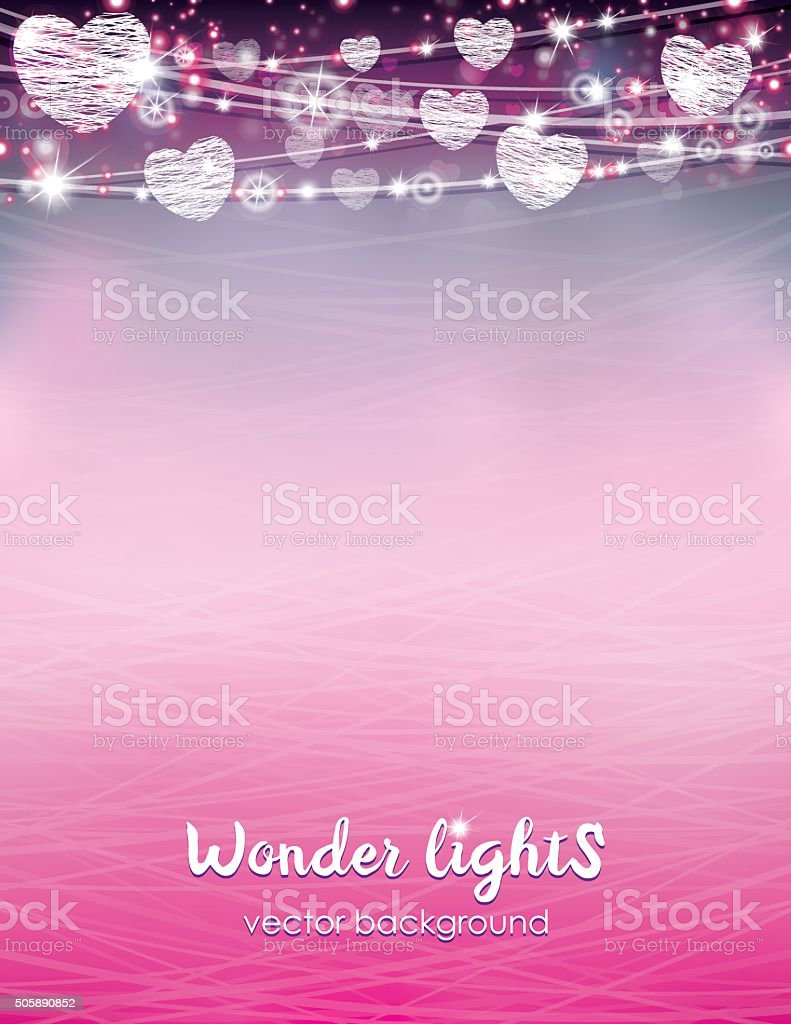 Letter size bokeh background with a rope lights vector art illustration