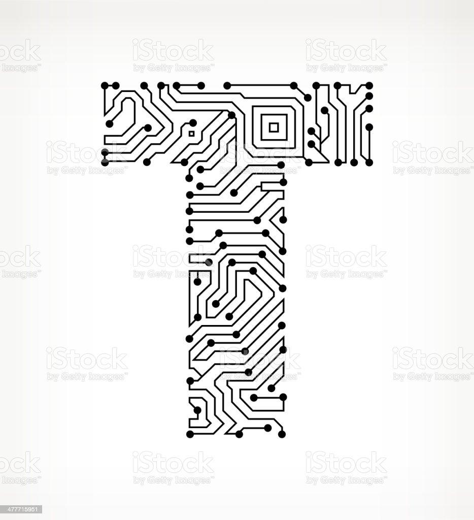 Letter T Circuit Board on White Background vector art illustration