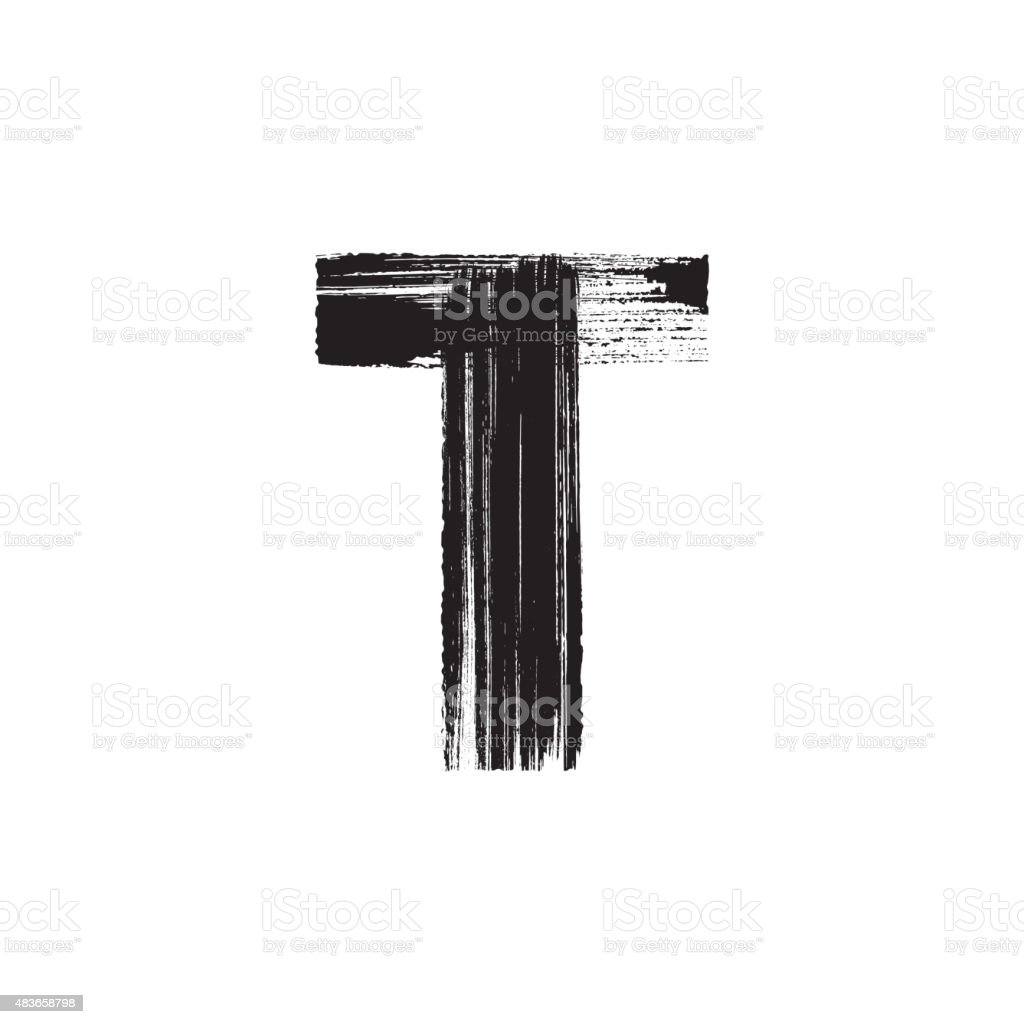 Letter T hand drawn with dry brush vector art illustration