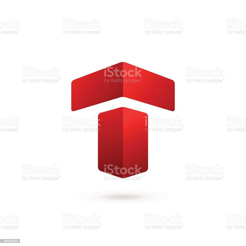 Letter T icon vector art illustration