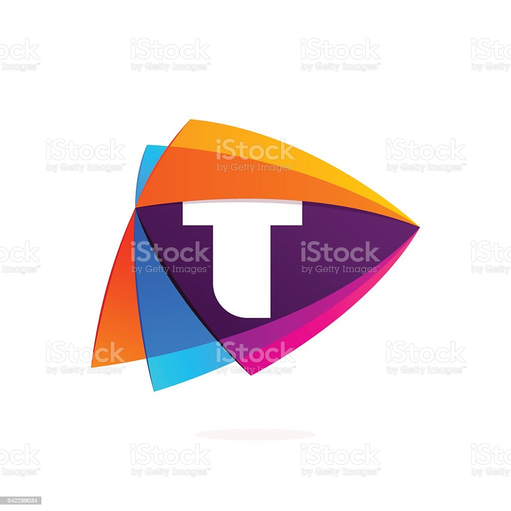 Letter T in Play button icon. Triangle intersection icon. vector art illustration
