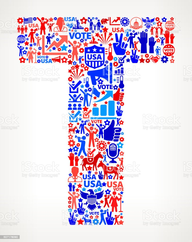Letter t Vote and Elections USA Patriotic Icon Pattern vector art illustration