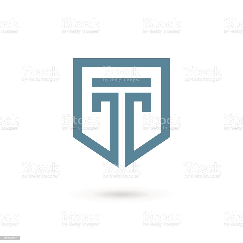 Letter T with shield icon vector art illustration