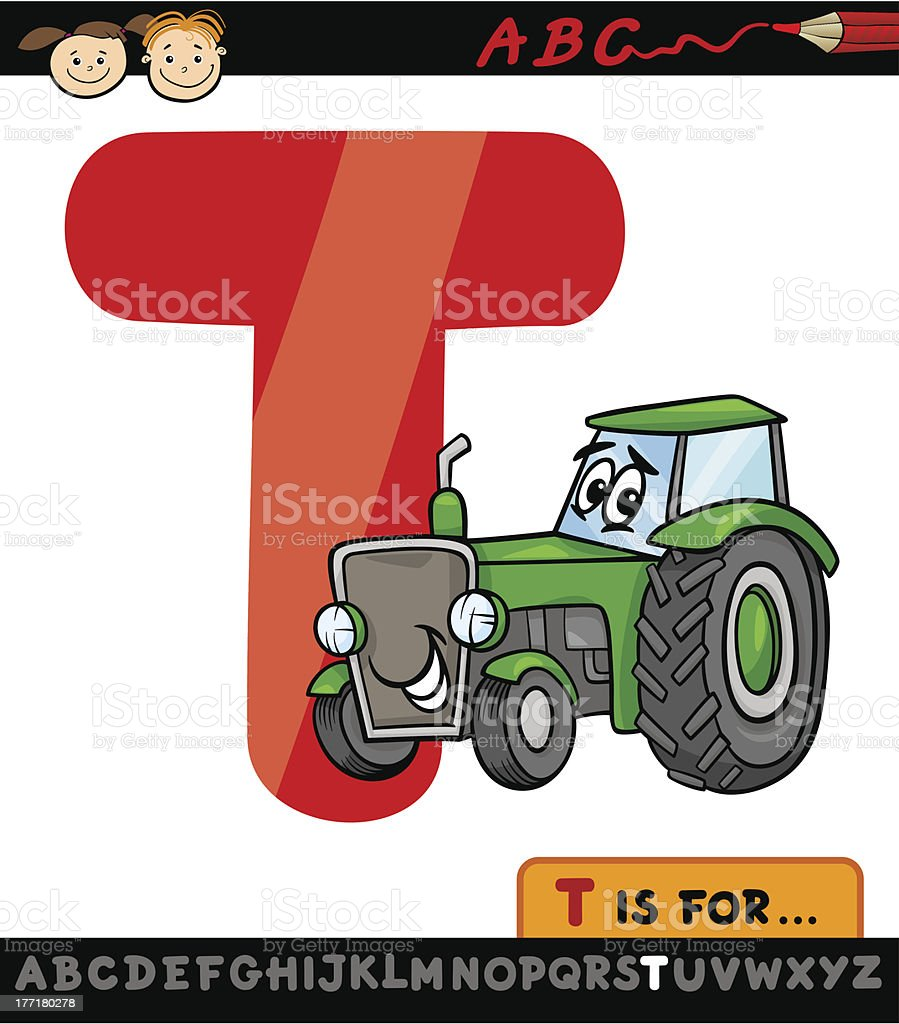 letter t with tractor cartoon illustration royalty-free stock vector art