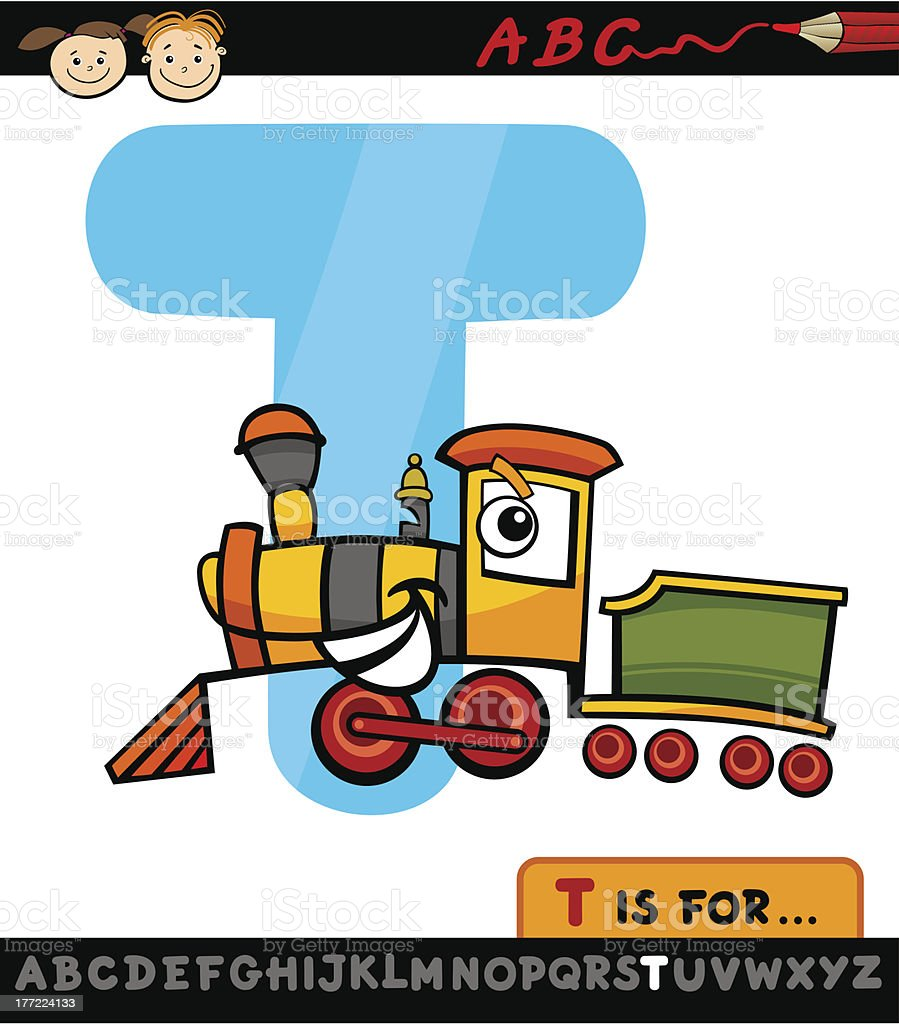 letter t with train cartoon illustration royalty-free stock vector art