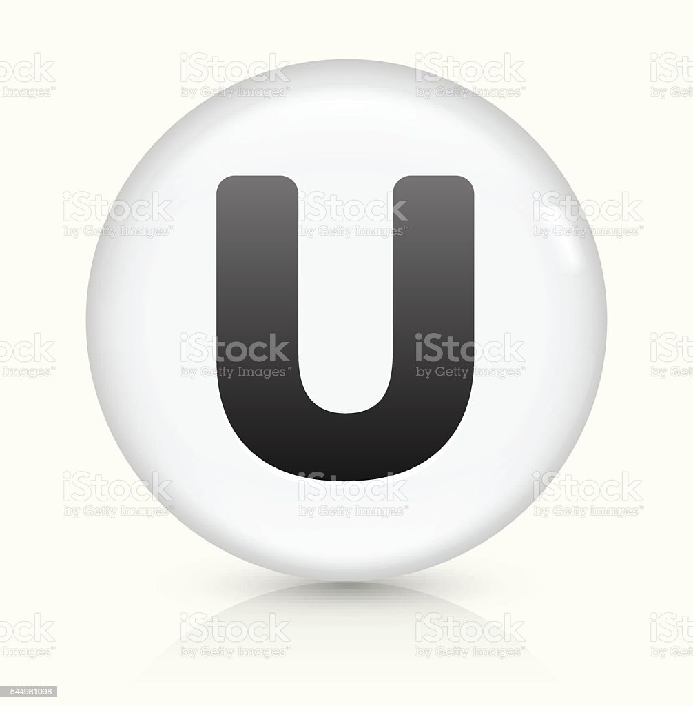 Letter U icon on white round vector button vector art illustration