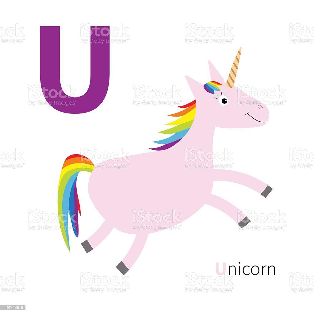 Letter U Unicorn Zoo alphabet. English abc Flat design vector art illustration