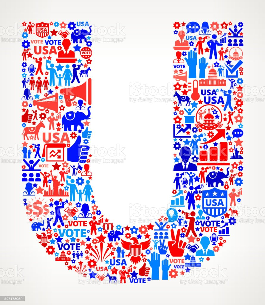 Letter u Vote and Elections USA Patriotic Icon Pattern vector art illustration
