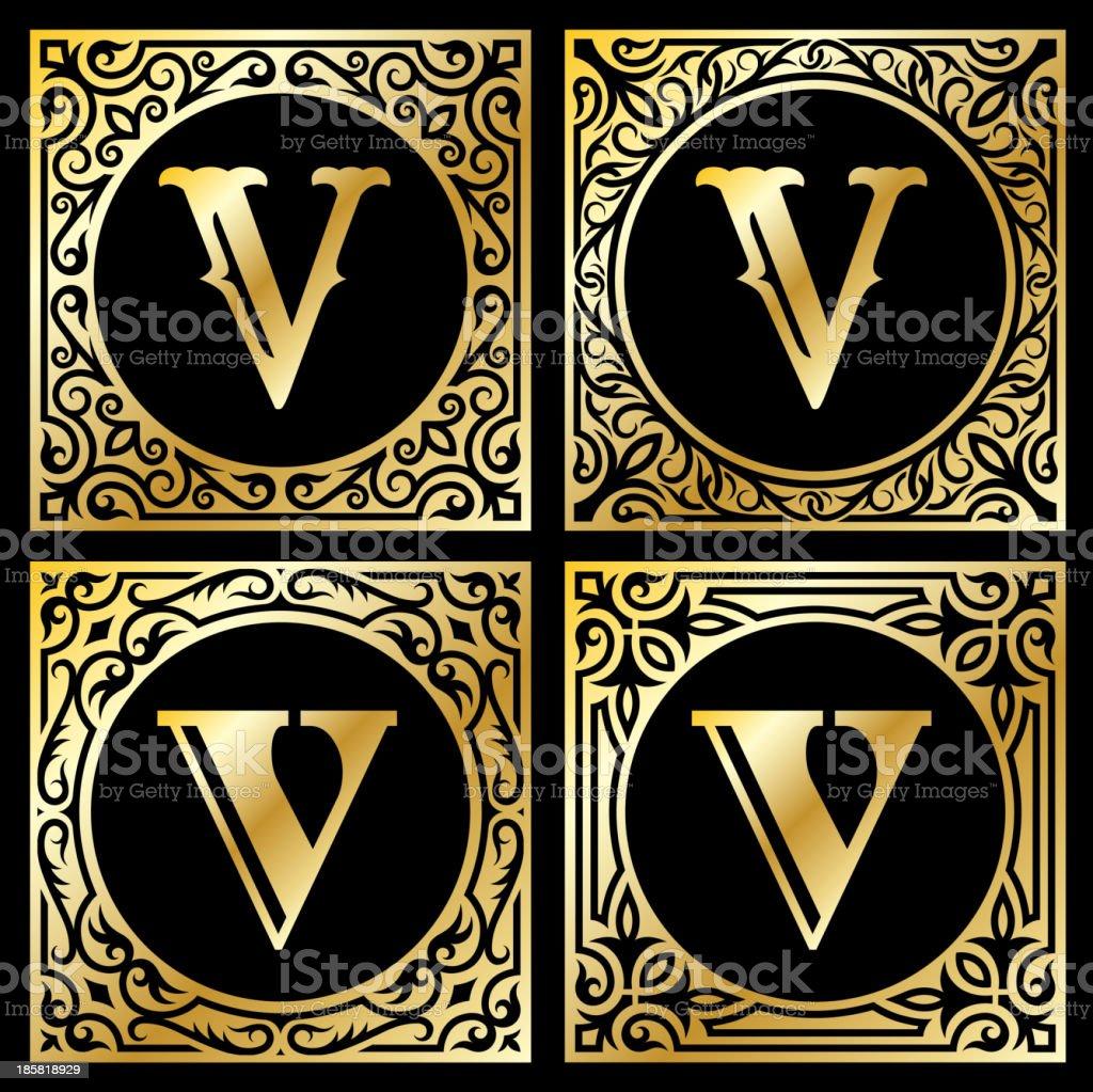 Letter V in Golden Frame royalty-free stock vector art