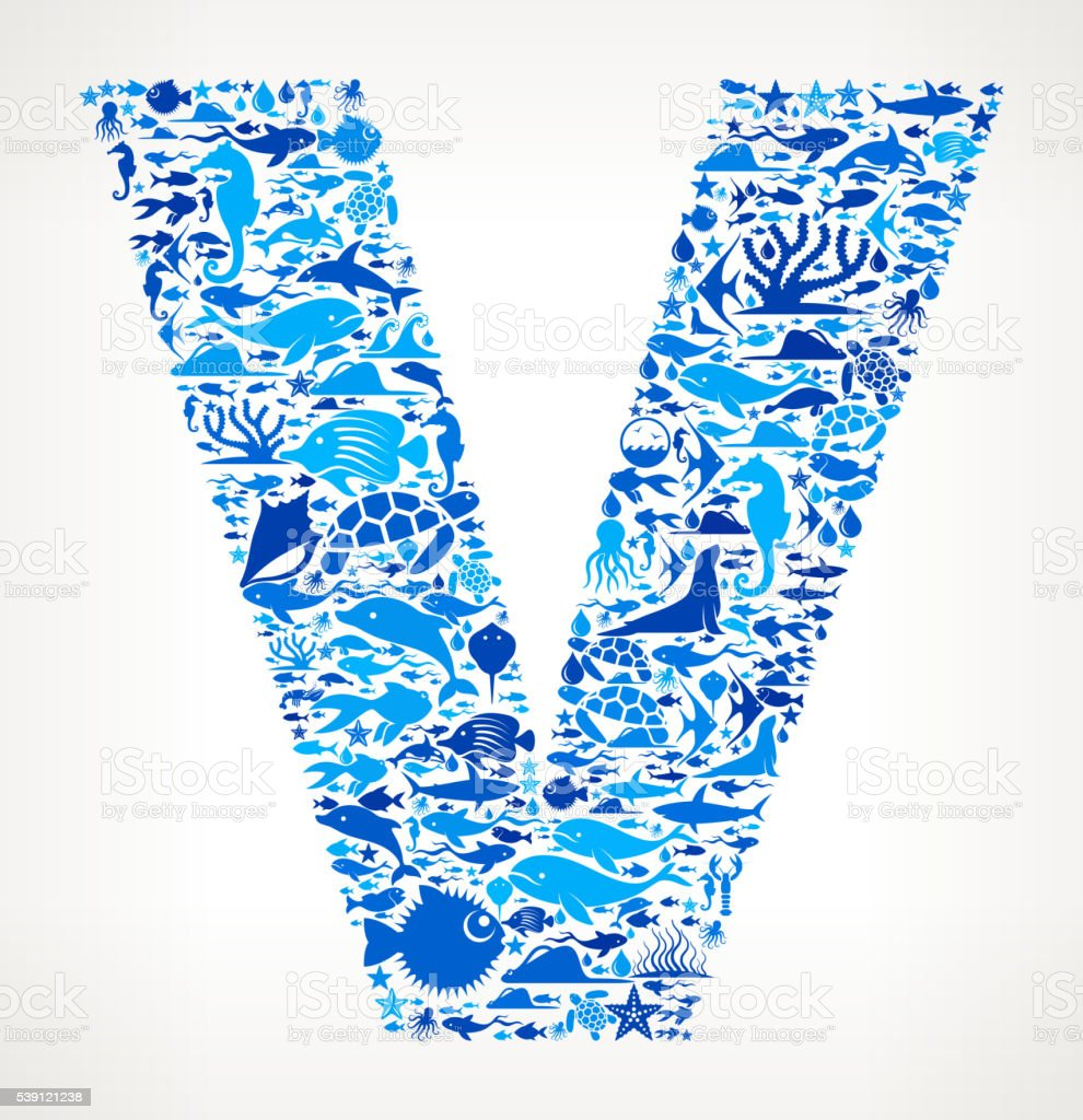 Letter v Ocean Marine Life Blue Icon Pattern vector art illustration