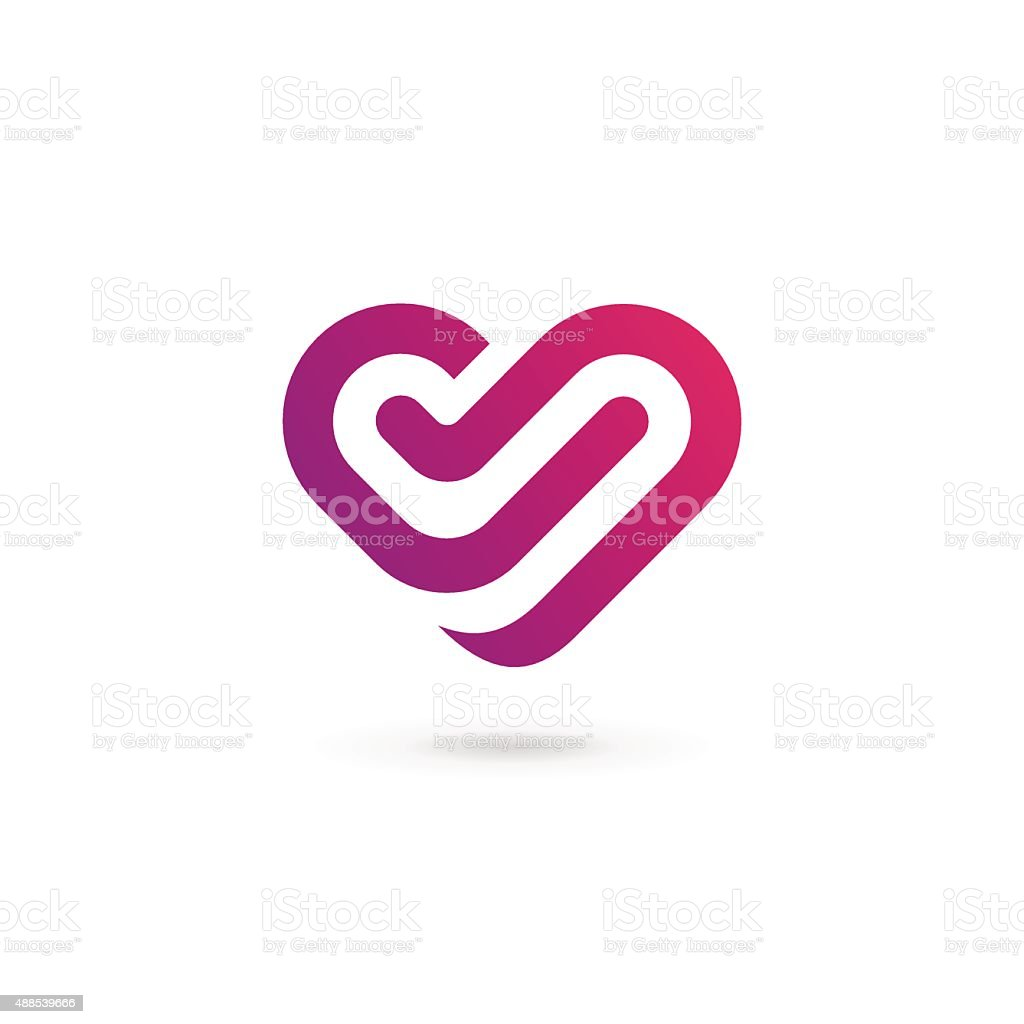 Letter V or number 5 with heart icon vector art illustration