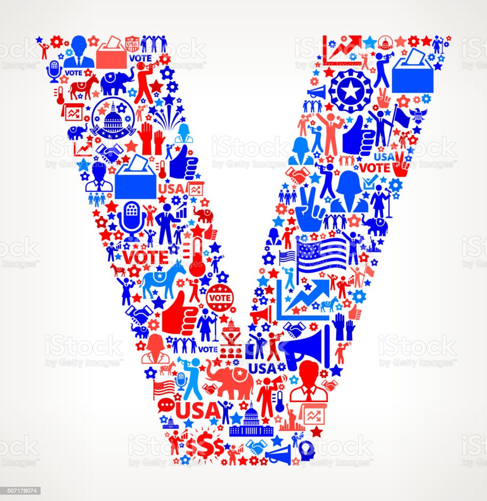 Letter v Vote and Elections USA Patriotic Icon Pattern vector art illustration
