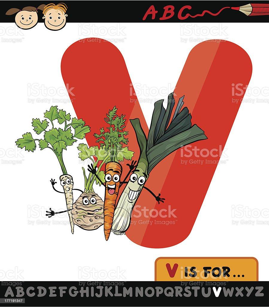 letter v with vegetables cartoon illustration royalty-free stock vector art