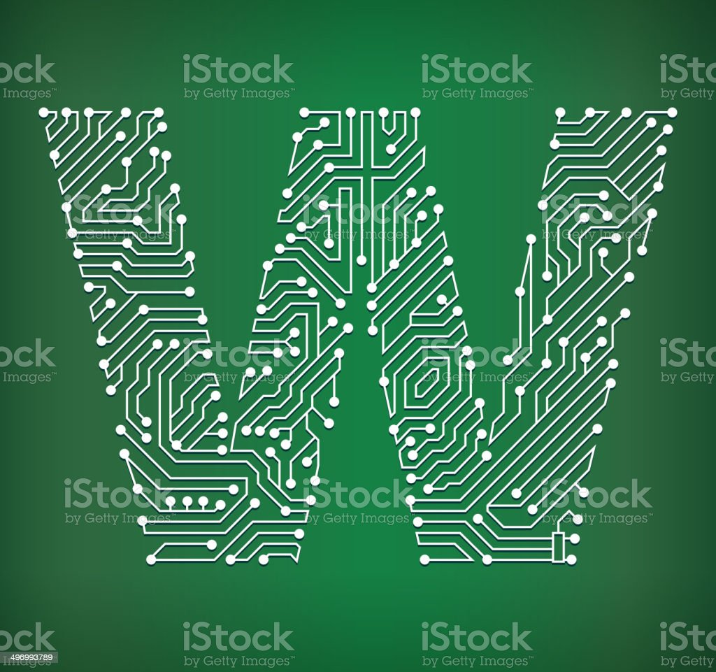 Letter W Circuit Board royalty free vector art background royalty-free stock vector art