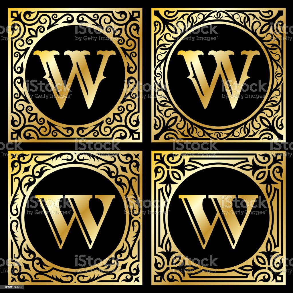 Letter W in Golden Frame royalty-free stock vector art