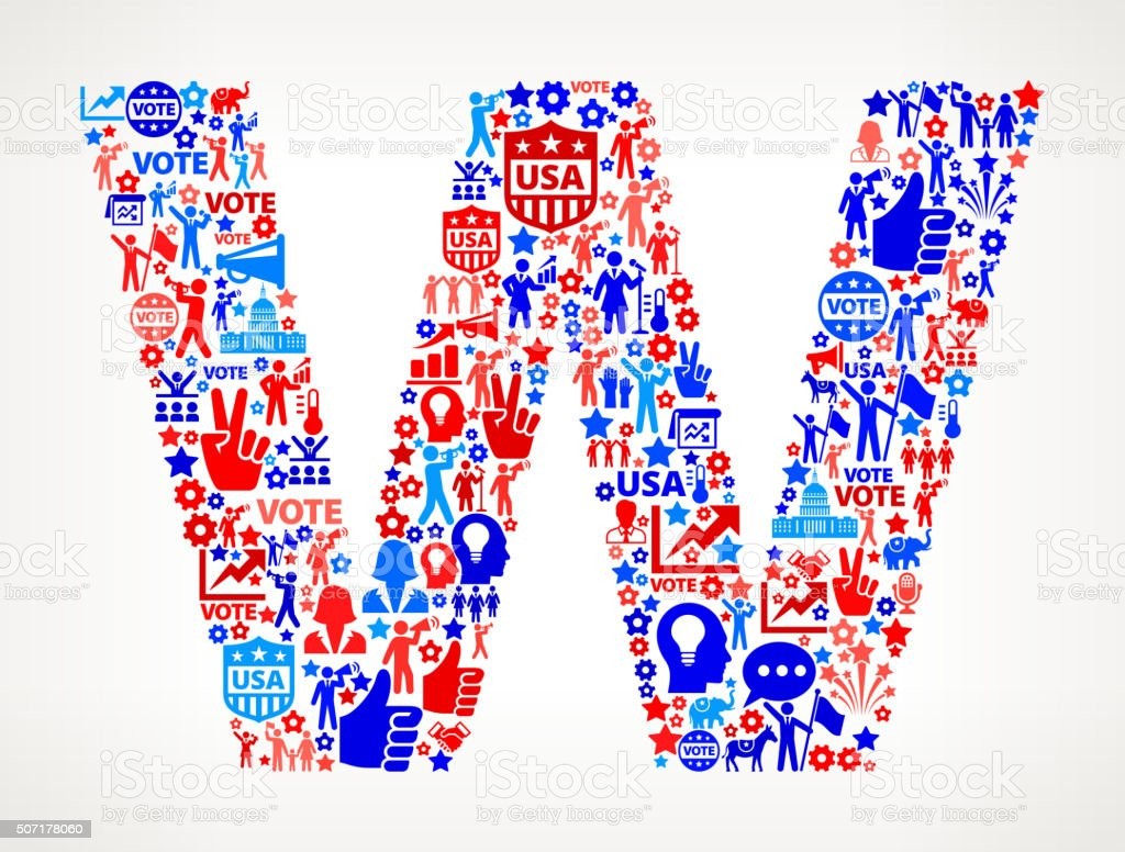 Letter w Vote and Elections USA Patriotic Icon Pattern vector art illustration