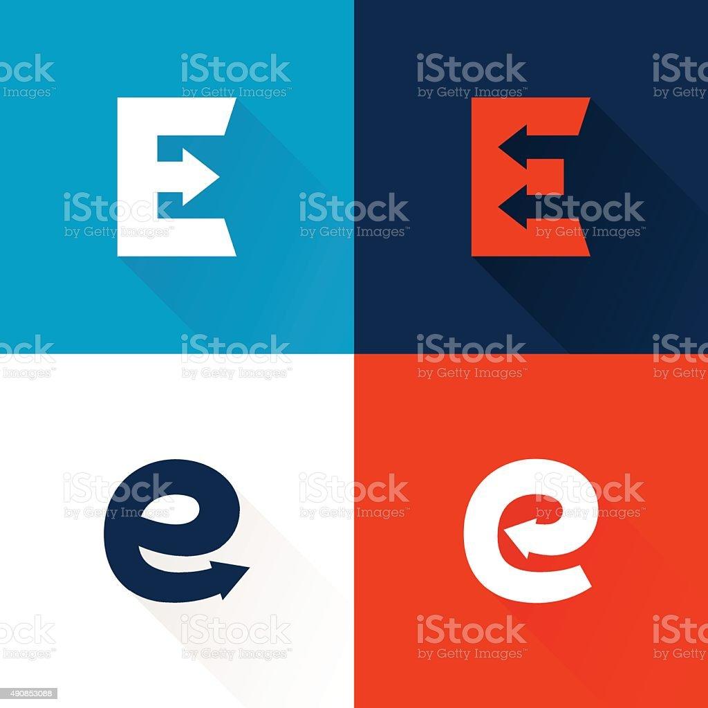 E letter with arrows set. vector art illustration