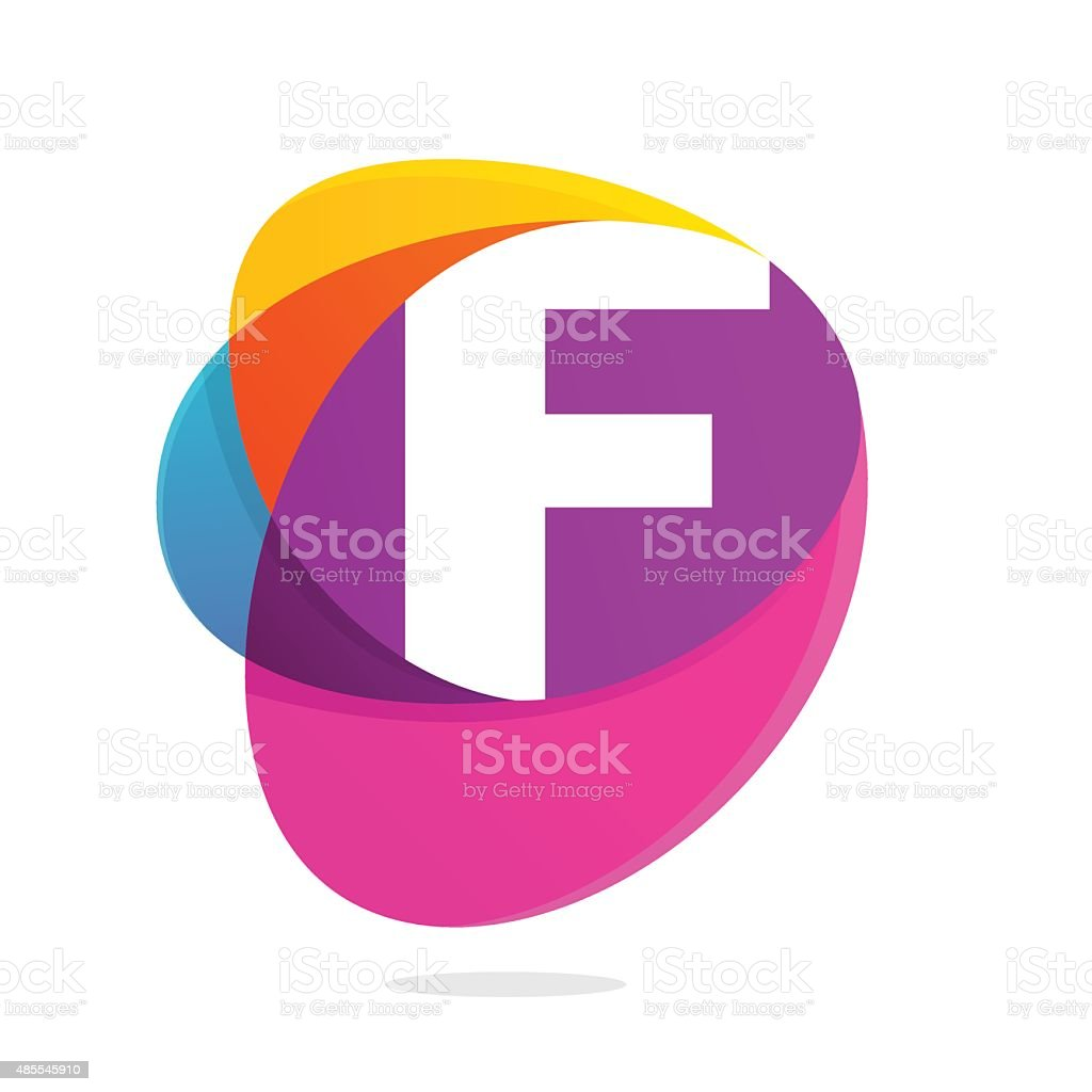 F letter with ellipses intersection icon. vector art illustration