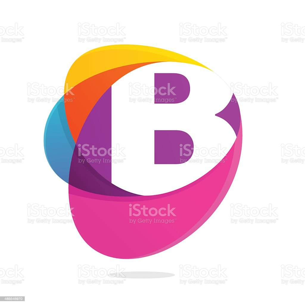 B letter with ellipses intersection icon. vector art illustration