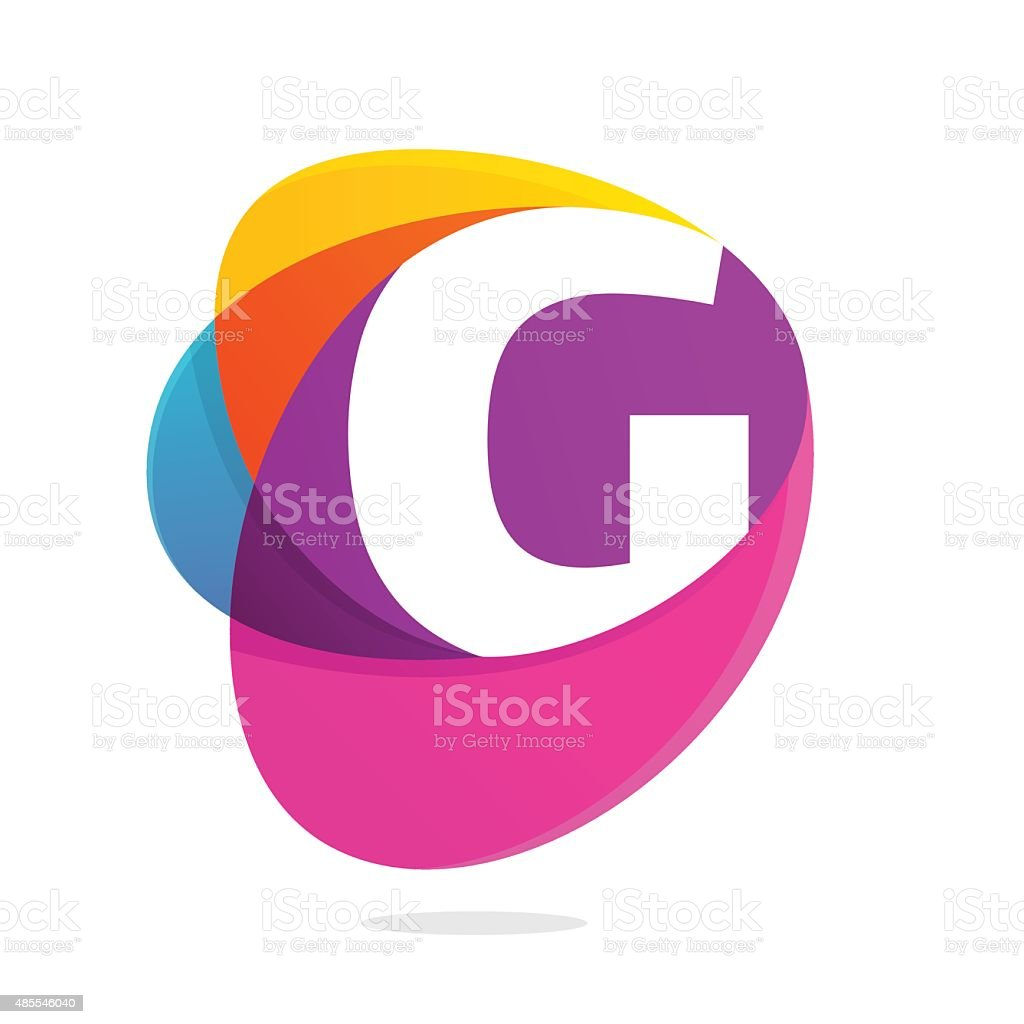G letter with ellipses intersection icon. vector art illustration