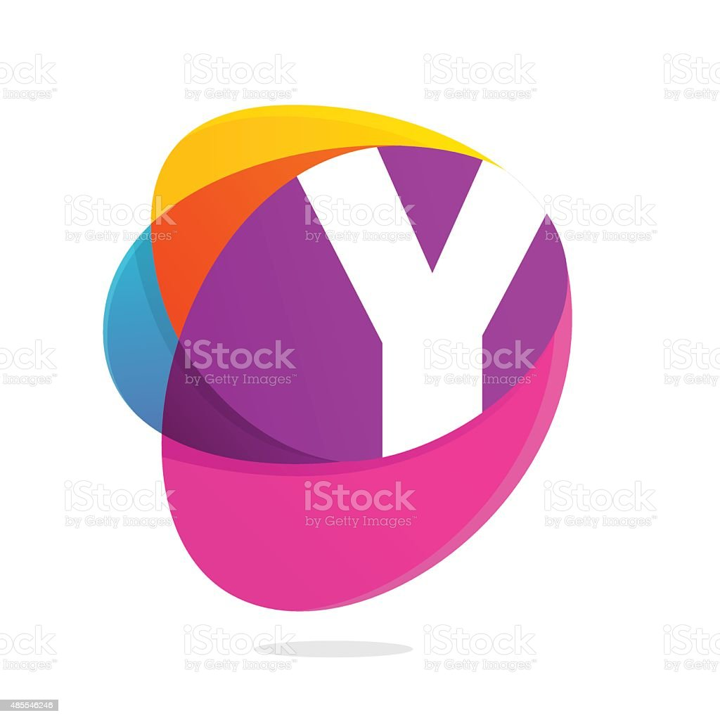 Y letter with ellipses intersection icon. vector art illustration