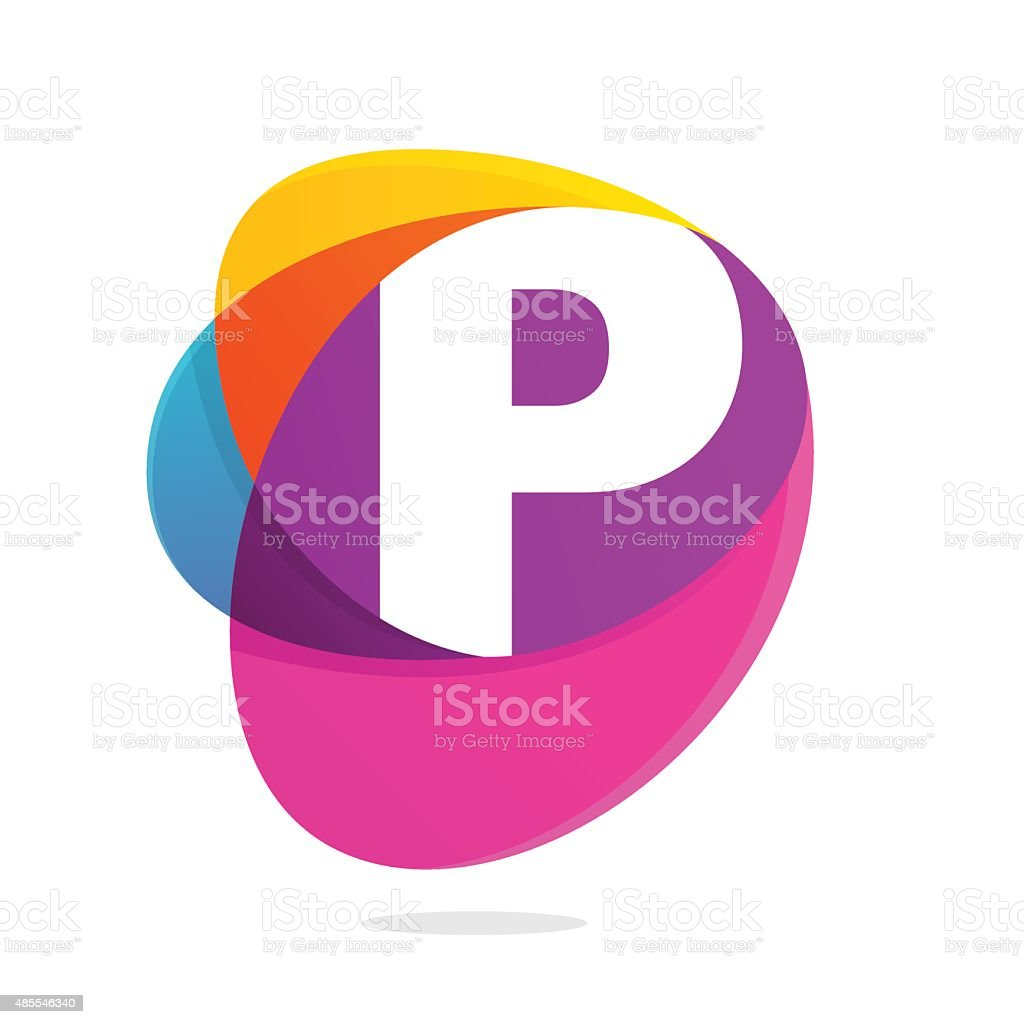 P letter with ellipses intersection icon. vector art illustration