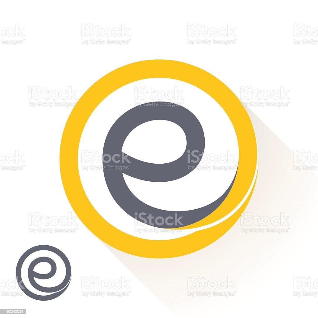 E letter with round line logo. vector art illustration