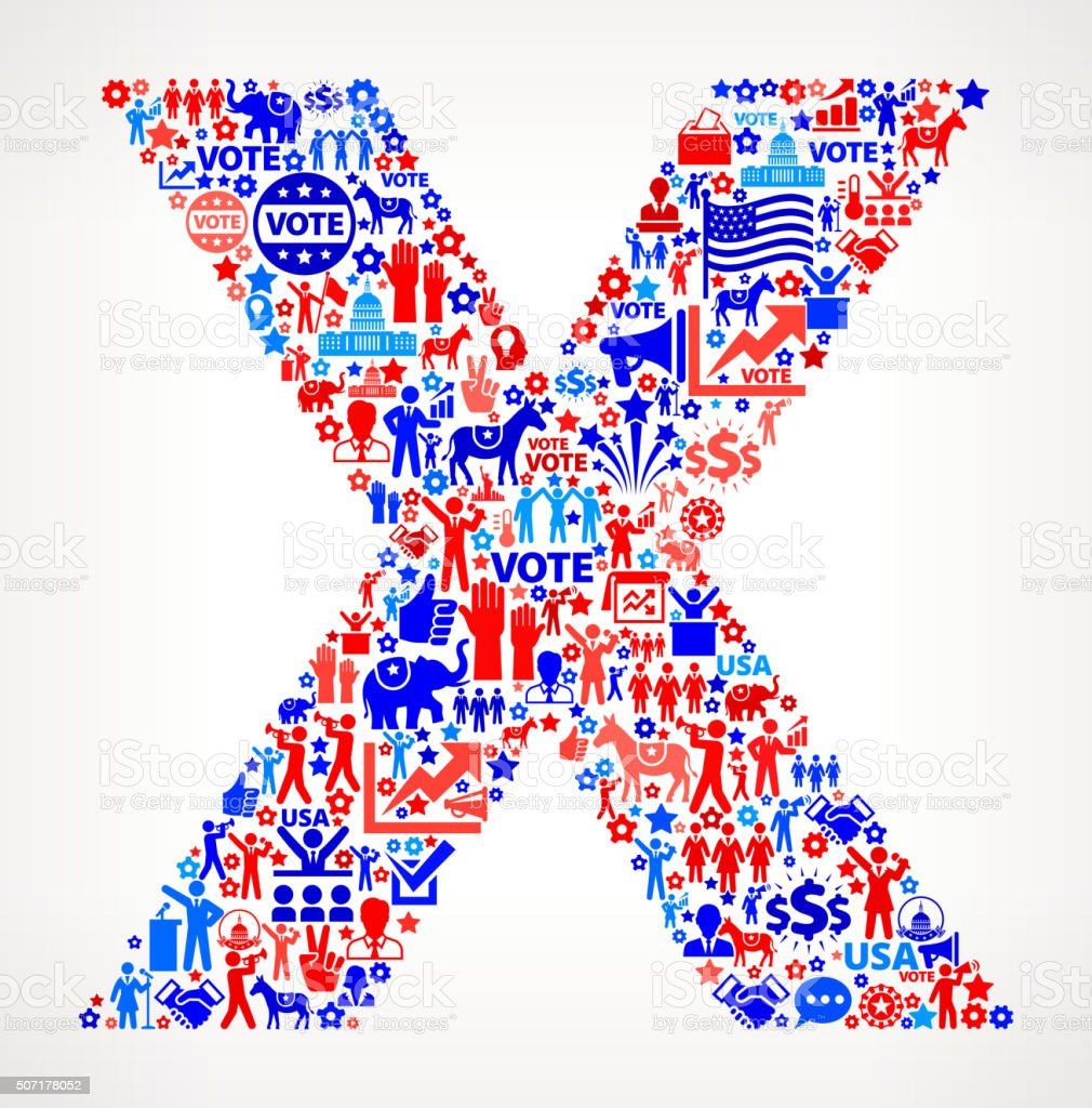 Letter x Vote and Elections USA Patriotic Icon Pattern vector art illustration
