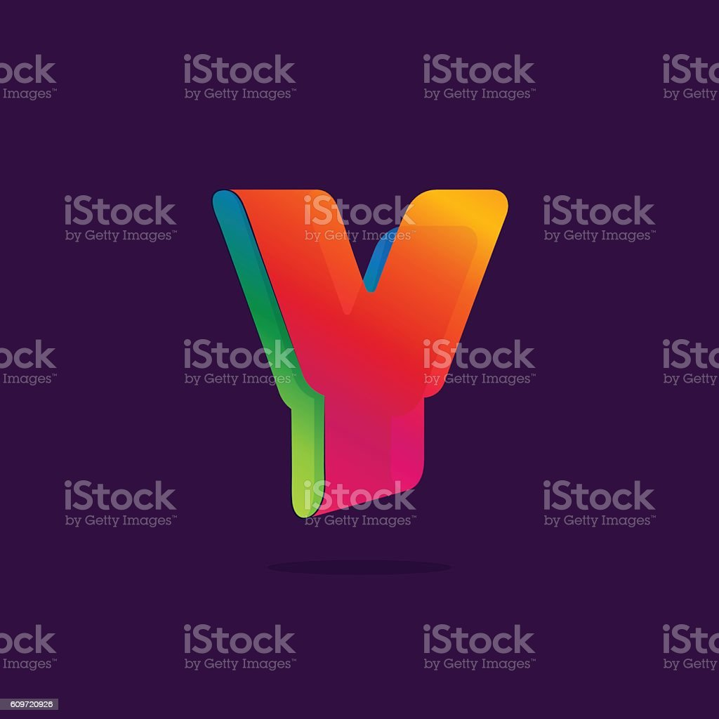 Letter Y icon formed by colorful ribbon. vector art illustration