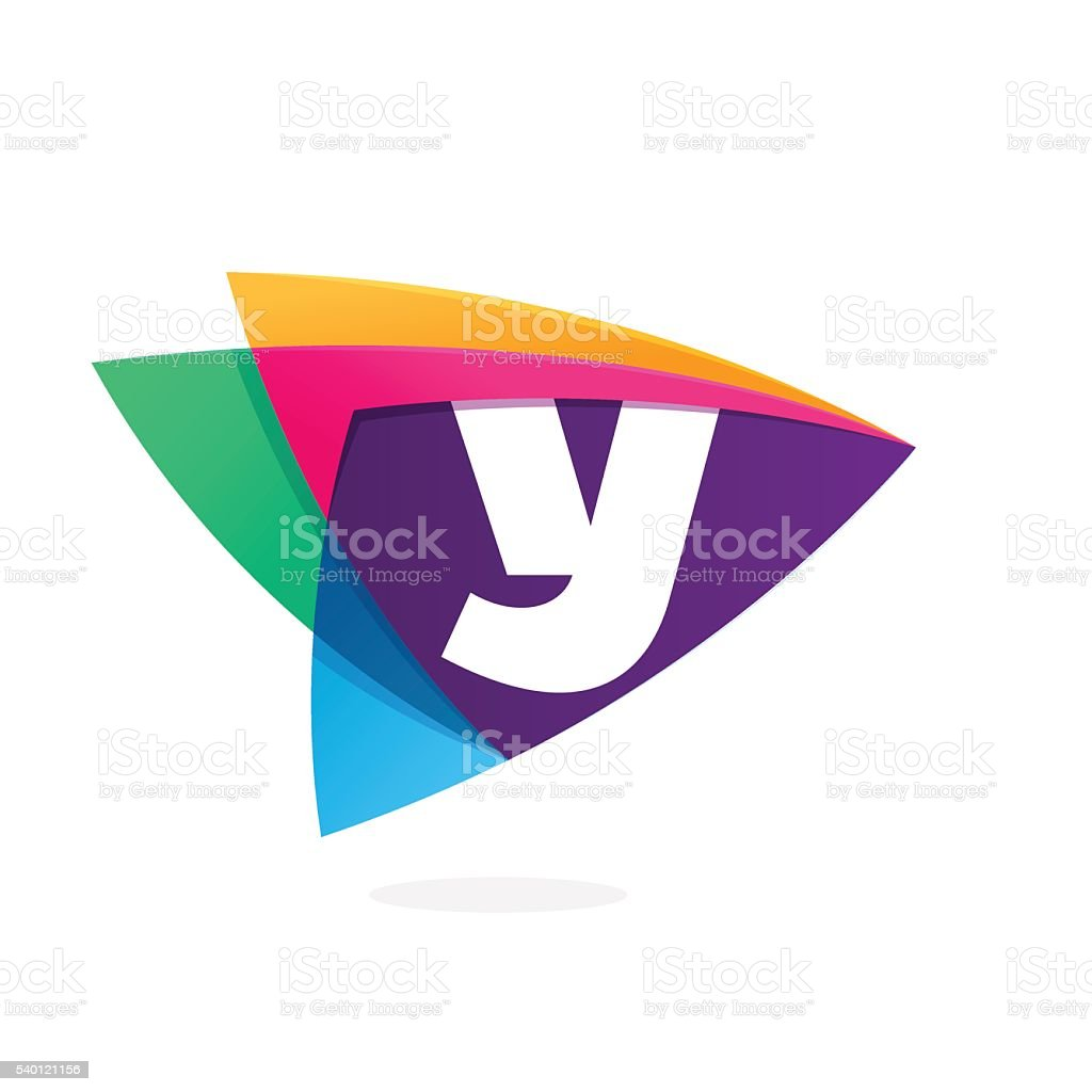 Letter Y in triangle intersection icon. vector art illustration