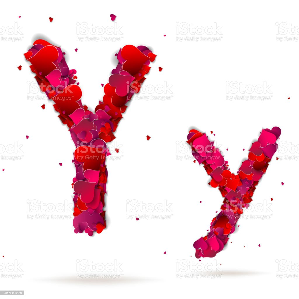 Letter y made from hearts. Love alphabet royalty-free stock vector art