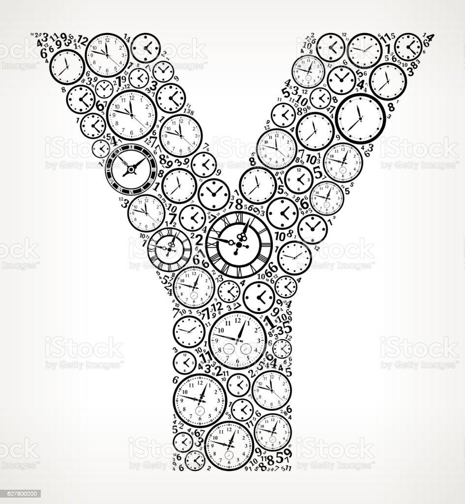 Letter Y on Time and Clock Vector Icon Pattern vector art illustration